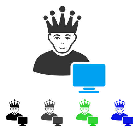 Positive Computer Moderator vector pictograph. Vector illustration style is a flat iconic computer moderator symbol with grey, black, blue, green color variants. Human face has cheerful sentiment. Illustration