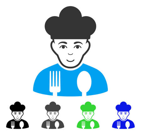 Gladness Cook vector pictogram. Vector illustration style is a flat iconic cook symbol with gray, black, blue, green color versions. Human face has joyful feeling. Illustration
