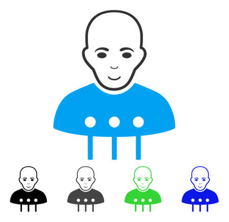 Glad Cyborg Interface vector pictogram. Vector illustration style is a flat iconic cyborg interface symbol with grey, black, blue, green color variants. Person face has joy emotion.