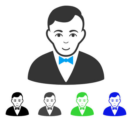 Gladness Dealer vector pictograph. Vector illustration style is a flat iconic dealer symbol with grey, black, blue, green color versions. Human face has enjoy expression. Illustration