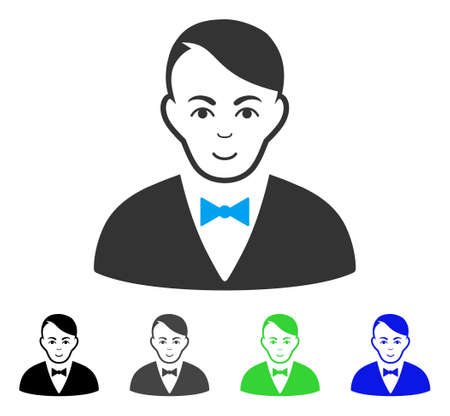 Happiness Dealer vector icon. Vector illustration style is a flat iconic dealer symbol with grey, black, blue, green color versions. Person face has glad emotions.