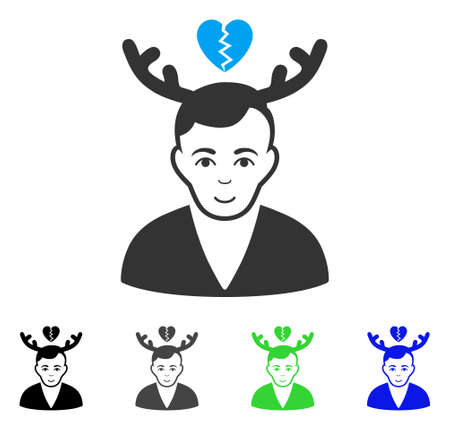 Glad Deceived Horned Husband vector icon. Vector illustration style is a flat iconic deceived horned husband symbol with grey, black, blue, green color versions. Human face has joyful mood.