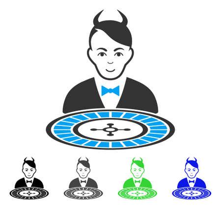 Happy Devil Roulette Dealer vector pictogram. Vector illustration style is a flat iconic devil roulette dealer symbol with gray, black, blue, green color versions. Human face has happy emotions.