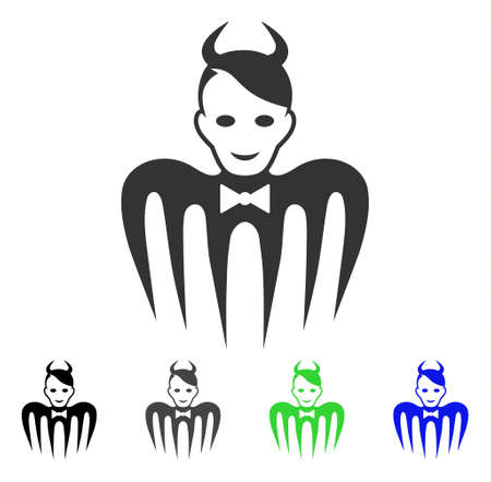 Cheerful Devil Spectre vector pictogram. Vector illustration style is a flat iconic devil spectre symbol with grey, black, blue, green color variants. Human face has enjoy feeling.