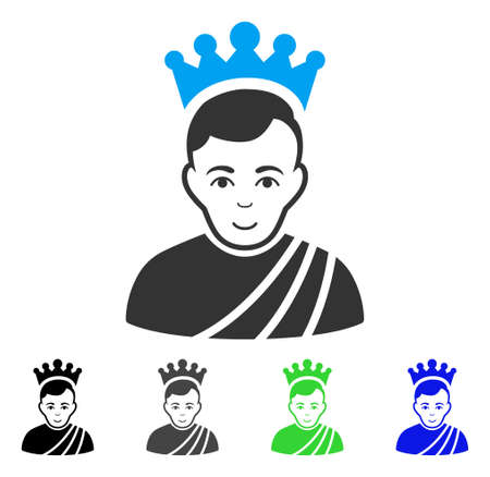 Cheerful Emperor vector icon. Vector illustration style is a flat iconic emperor symbol with grey, black, blue, green color versions. Human face has gladness sentiment.