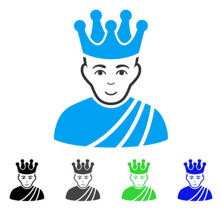 Glad Emperor vector pictograph. Vector illustration style is a flat iconic emperor symbol with grey, black, blue, green color variants. Person face has smiling mood. Illustration