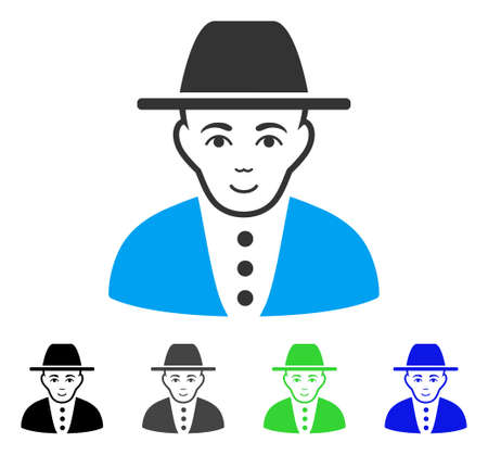 Gladness Jew vector pictograph. Vector illustration style is a flat iconic jew symbol with grey, black, blue, green color variants. Human face has positive emotion.