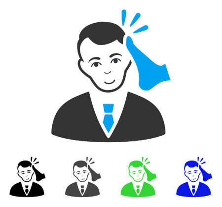 Positive Kickboxer Victim vector pictogram. Vector illustration style is a flat iconic kickboxer victim symbol with grey, black, blue, green color variants. Person face has positive mood.