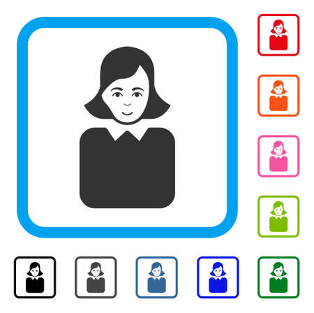 Positive Bureaucrat Woman vector pictograph. Stock Illustratie