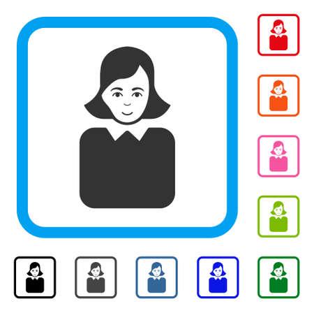 Positive Bureaucrat Woman vector pictograph. Illustration