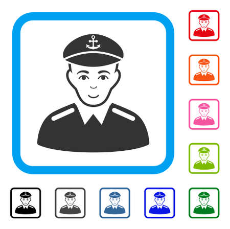 Happiness captain vector pictogram. Human face has glad sentiment. Black, grey, green, blue, red, pink color versions of captain symbol inside a rounded rectangular frame.