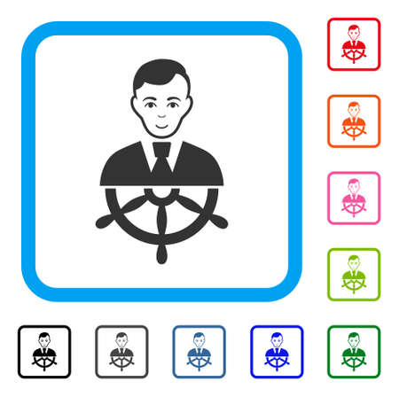 Enjoy captain vector pictograph. Human face has gladness expression. Black, gray, green, blue, red, pink color versions of captain symbol inside a rounded squared frame.
