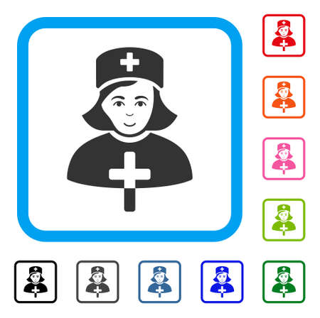 Happiness catholic lady doctor vector icon. Person face has cheerful emotion. Black, gray, green, blue, red, pink color versions of catholic lady doctor symbol in a rounded square.