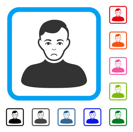 Sad Boy vector icon. Person face has pitiful mood. Black, gray, green, blue, red, pink color variants of boy symbol inside a rounded frame.