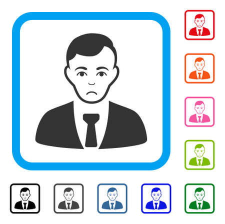 Sadly Businessman vector pictograph. Human face has depressed emotions. Black, grey, green, blue, red, orange color variants of businessman symbol in a rounded square. Illustration