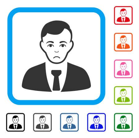 Sadly Businessman vector pictograph. Human face has depressed emotions. Black, grey, green, blue, red, orange color variants of businessman symbol in a rounded square. Illustration