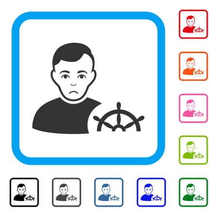 Dolor captain vector icon. Person face has dolour emotions. Black, grey, green, blue, red, pink color variants of captain symbol inside a rounded squared frame. Illustration
