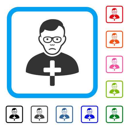 Sadly catholic shepherd vector pictograph. Human face has desperate feeling. Black, grey, green, blue, red, pink color versions of catholic shepherd symbol in a rounded squared frame.