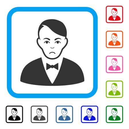 Sad dealer vector icon. Person face has desperate feeling. Black, gray, green, blue, red, orange color versions of dealer symbol in a rounded squared frame. Ilustração