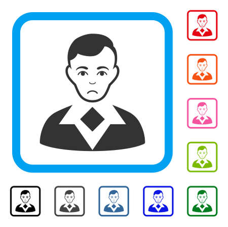Unhappy Man vector pictogram. Person face has depressed expression. Black, grey, green, blue, red, orange color variants of man symbol in a rounded square. Illustration