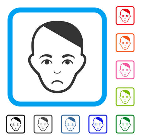 Sad Patient Head vector pictograph. Human face has affliction feeling. Black, grey, green, blue, red, pink color versions of patient head symbol in a rounded rectangular frame. Illustration