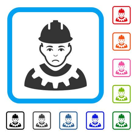 Unhappy Serviceman vector pictograph. Human face has dolour emotion. Black, grey, green, blue, red, pink color versions of serviceman symbol in a rounded squared frame.