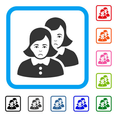 Unhappy Women vector icon. Human face has stress feeling. Black, grey, green, blue, red, orange color variants of women symbol in a rounded rectangle.