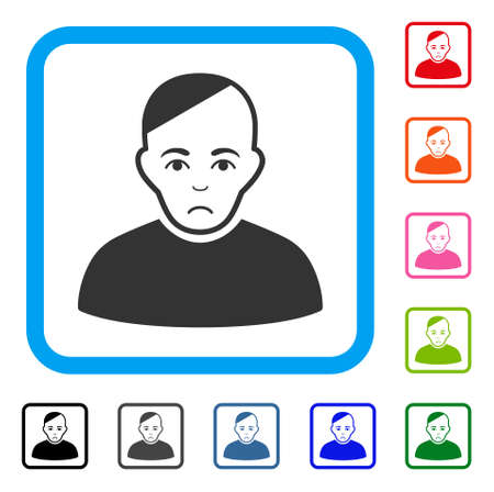 Pitiful Patient vector icon. Human face has unhappy expression. Black, grey, green, blue, red, pink color versions of patient symbol inside a rounded frame.