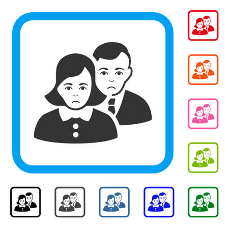 Unhappy People vector icon. Human face has depressed emotions. Black, gray, green, blue, red, pink color variants of people symbol in a rounded rectangle. Ilustração