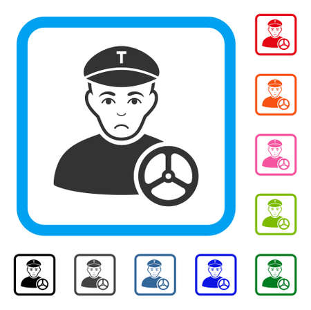 Pitiful Taxi Driver vector pictogram. Human face has depressed emotions. Black, grey, green, blue, red, pink color versions of taxi driver symbol in a rounded square.
