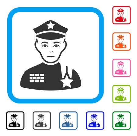 Sadly Army General vector pictograph. Human face has pitiful emotion. Black, gray, green, blue, red, pink color versions of army general symbol inside a rounded frame. Illustration