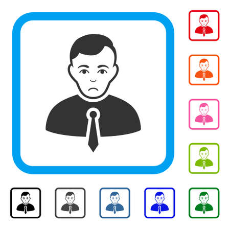 Sadly Businessman vector pictograph. Human face has sorrow emotions. Black, grey, green, blue, red, pink color variants of businessman symbol inside a rounded squared frame.