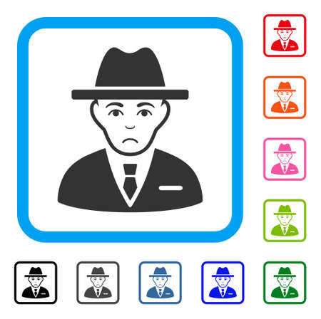 Dolor Agent vector icon. Person face has problem emotion. Black, grey, green, blue, red, pink color variants of agent symbol in a rounded rectangle.
