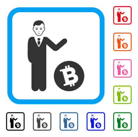 Sad Bitcoin Businessman vector pictograph. Person face has sorrow expression. Black, gray, green, blue, red, orange color variants of bitcoin businessman symbol inside a rounded frame.