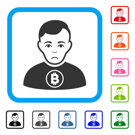 Sadly Bitcoin Man vector icon. Human face has grief expression. Black, grey, green, blue, red, orange color variants of bitcoin man symbol inside a rounded square.