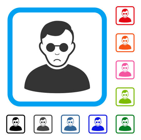 Pitiful Blind Man vector pictograph. Human face has depressed sentiment. Black, gray, green, blue, red, pink color variants of blind man symbol inside a rounded rectangle. Illustration