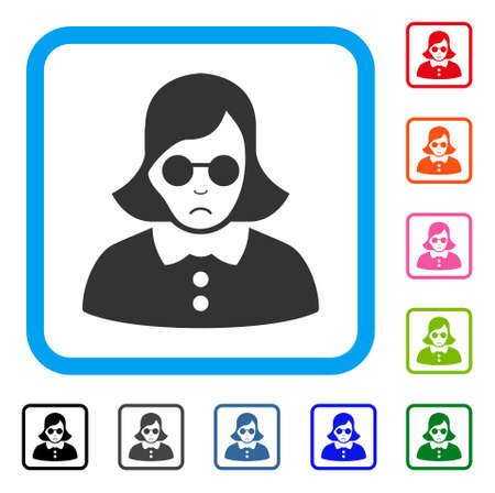 Sadly Blind Woman vector pictograph. Human face has mourning expression. Black, gray, green, blue, red, pink color versions of blind woman symbol inside a rounded rectangle.