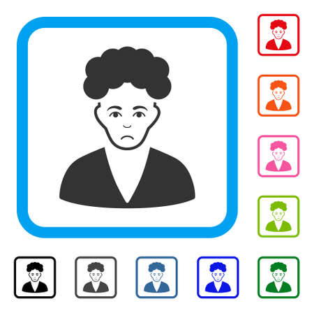 Dolor Brunette Boy vector pictograph. Human face has pitiful emotions. Black, gray, green, blue, red, orange color variants of brunette boy symbol in a rounded square.