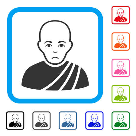 Pitiful Buddhist Monk vector pictogram. Human face has grief feeling. Black, grey, green, blue, red, pink color versions of buddhist monk symbol in a rounded squared frame.