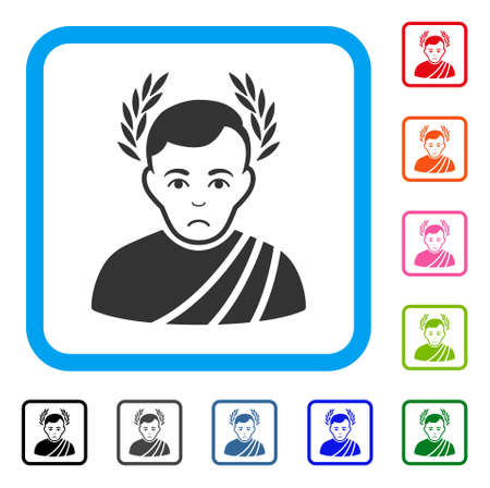 Dolor Caesar Wreath vector icon. Person face has dolour sentiment. Black, gray, green, blue, red, orange color variants of caesar wreath symbol inside a rounded squared frame. Illustration