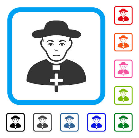Unhappy Catholic Shepherd vector icon. Person face has depressed sentiment. Black, gray, green, blue, red, orange color variants of catholic shepherd symbol inside a rounded squared frame.