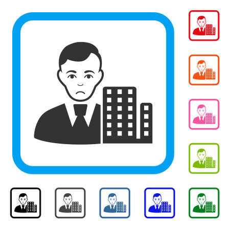 Sad City Architect vector pictograph. Person face has unhappy feeling. Black, grey, green, blue, red, orange color versions of city architect symbol inside a rounded frame.