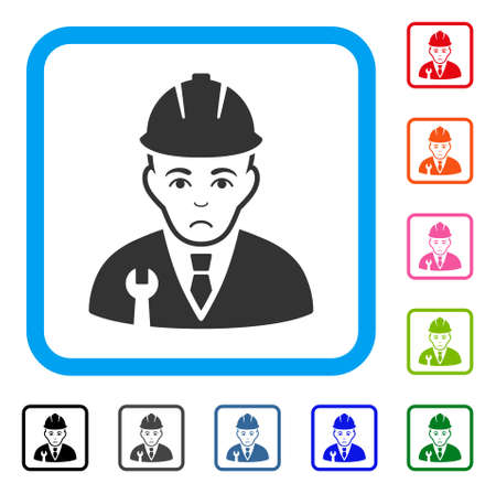 Sad Developer vector pictogram. Person face has sadness emotions. Black, gray, green, blue, red, pink color variants of developer symbol in a rounded rectangle.