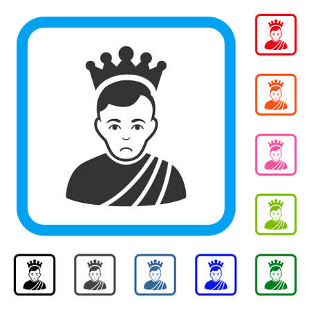 Sadly Emperor vector icon. Human face has sad mood. Black, grey, green, blue, red, pink color variants of emperor symbol in a rounded square. Illustration