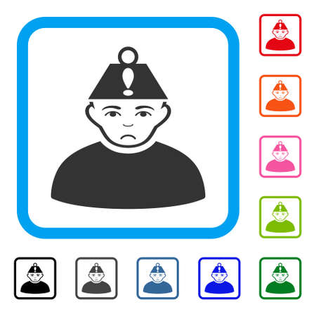 Pitiful Head Stress vector icon. Human face has mourning mood. Black, gray, green, blue, red, pink color variants of head stress symbol in a rounded rectangular frame.
