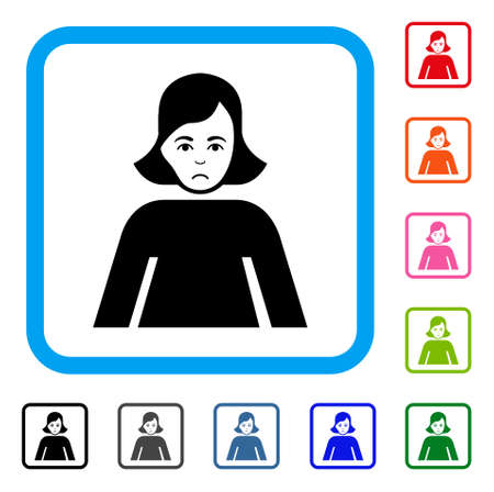 Sad Lady vector pictogram. Human face has sorrow emotion. Black, grey, green, blue, red, orange color variants of lady symbol in a rounded squared frame.