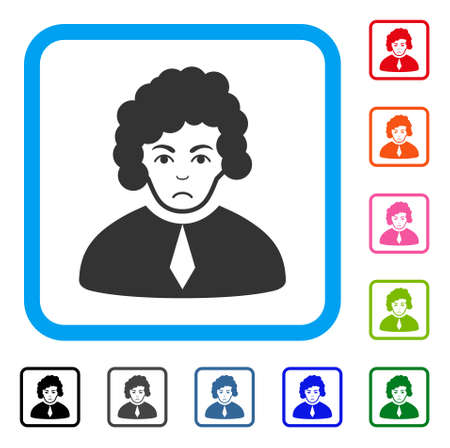 Sadly Judge vector icon. Person face has desperate sentiment. Black, gray, green, blue, red, orange color variants of judge symbol in a rounded rectangle.