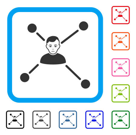 Sad Man Links vector pictogram. Human face has dolor mood. Black, gray, green, blue, red, pink color versions of man links symbol in a rounded squared frame.