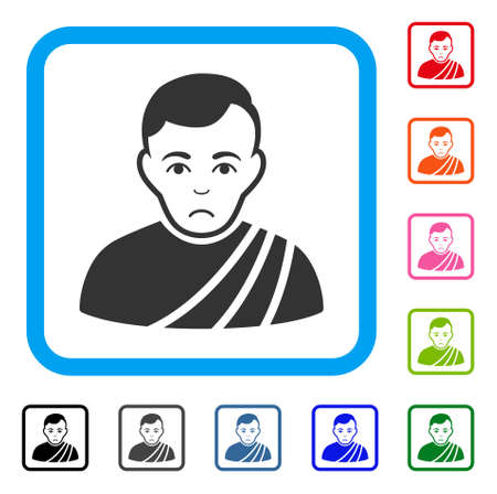 Unhappy Patrician Citizen vector pictograph. Person face has dolour sentiment. Black, grey, green, blue, red, pink color versions of patrician citizen symbol in a rounded rectangular frame.