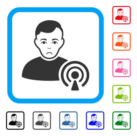 Sad Podcast Creator vector icon. Person face has stress feeling. Black, grey, green, blue, red, orange color versions of podcast creator symbol inside a rounded squared frame.